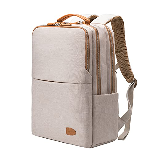 Zaino da uomo, portatile, business, borsa per il lavoro, tempo libero, impermeabile, da viaggio, da viaggio, per studenti, da donna, da città, con USB, Beigeplus, 42x30x18,