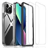 Bigmeda Funda para iPhone 13 Mini y 2 Piezas de Vidrio Templado Protector de Pantalla, Funda Transparente de Silicona TPU para Teléfono Móvil 5.4'