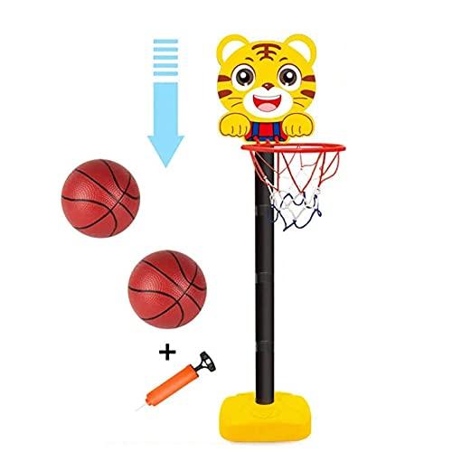 N\C Aro de Baloncesto de Dibujos Animados, Soporte de Baloncesto de Altura Ajustable Que Incluye Mini Bola y Bomba, NiñOs Aro De Baloncesto PortáTil para Interiores y Exteriores