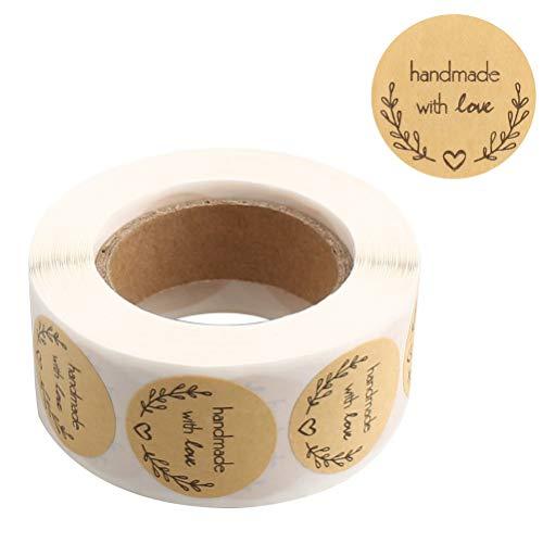 nuoshen 1 Roll 500 Stücke love Aufkleber Runde, Kraft Aufkleber Label handmade with love Aufkleber Etiketten für Backen Geschenktüten Hochzeit