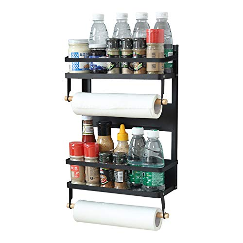 YCOCO 2 Tier Refrigerator Magnetic Spice Rack with Paper Towel Holder and 5 Extra Hooks,Rustproof Spice Jars Rack,Multi Use Refrigerator Side Shelf