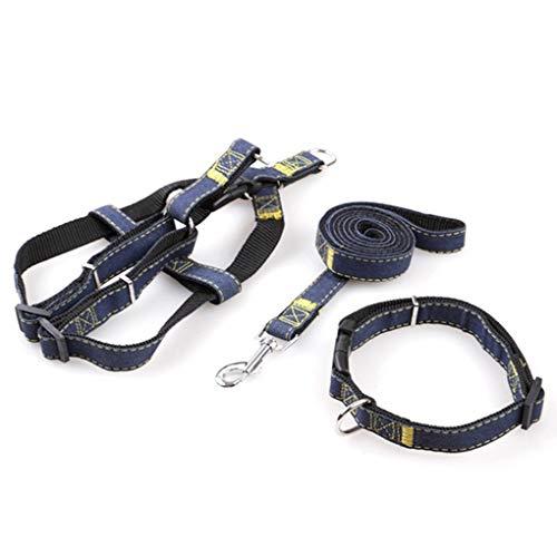 Set guinzaglio per Cani Collare guinzaglio in Denim per Gatto di Cane Cucciolo, Collare Regolabile per Gilet Cane S/M/L/XL