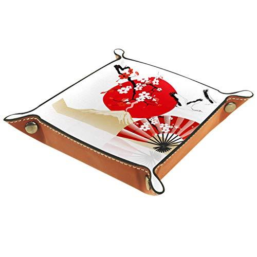 XiangHeFu Bandeja de Cuero Ventilador de grúa voladora Flor de Cerezo Almacenamiento Bandeja Organizador Bandeja de Almacenamiento Multifunción de Piel para Relojes,Llaves,Teléfono,Monedas