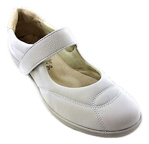 Dora 23 Gel   Therapeutischer FliessGel Riemchen Komfort Schuh   aus echtem Leder   zur Linderung von müden Füssen   mit 2 austauschbaren Einlagen   Extra Wert: 39,90 Euro (Light Beige, Numeric_42)
