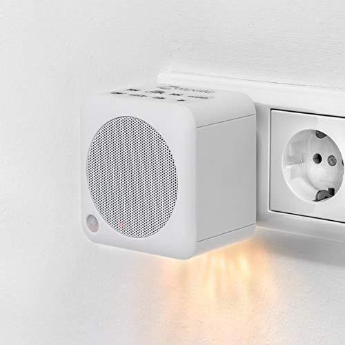 Steckdosenradio mit Bluetooth- Funktion/Bluetooth 4.2 / NFC/UKW Radio/integriertes Nachtlicht/USB Powerbank (Weiß)