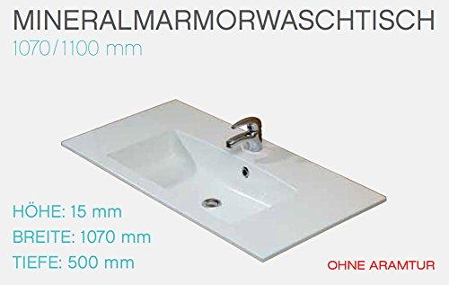 PELIPAL Trentino 1070/1100 Mineralmarmor Waschtisch/Weiß / 107 x 1,5 x 50 cm