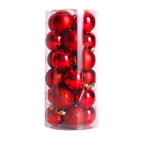 CHIC-24pcs Boules de noël pour décoration de Noël - 4cm- Mats et Brillantes Sapin - Arbre de Noël (Rouge)