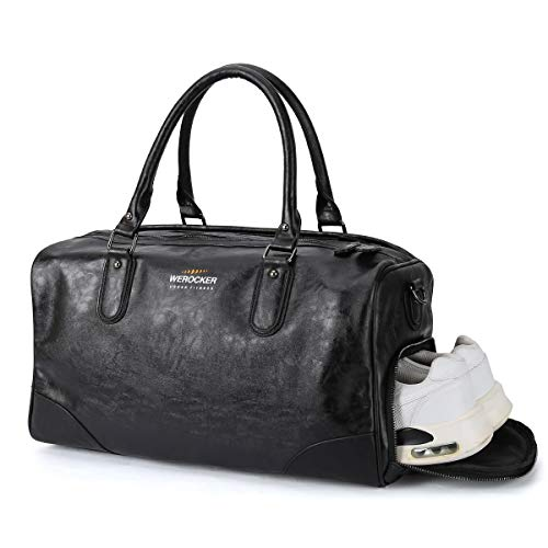 Small Sports Duffel Carry On Bag for Men Women with Shoe Compartment and Wet Pocket,Travel Bags Weekender Overnight Bag Gym Bag PU Leather 22L