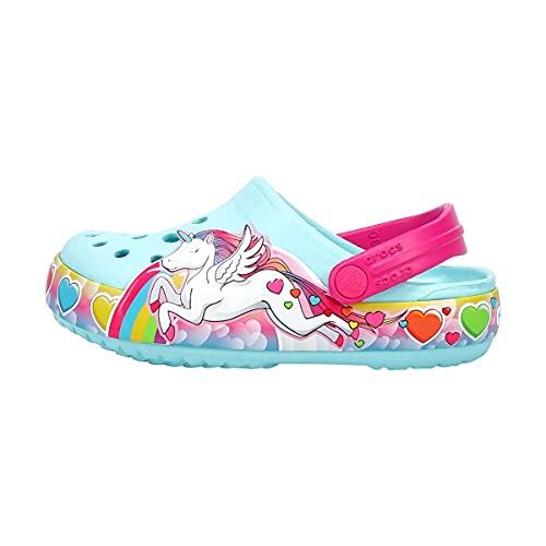 Crocs Kids' Fun Lab Light Up Clog | Light Up Shoes , Unicorn, 10 Toddler