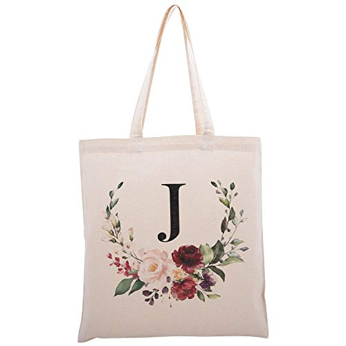 Personalized Floral Initial Cotton Canvas Tote Bag for Events Bachelorette Party Baby Shower Bridal Shower Bridesmaid Christmas Gift Bag | Daily Use | Totes for Yoga, Pilates, Gym, Workout | #2 - J