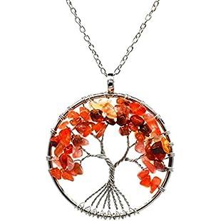 Bobury Women Round Tree Choker Chain Natural Stone Crystal Wisdom Tree Necklace for Wedding Party Gift Jewelry:Hashflur