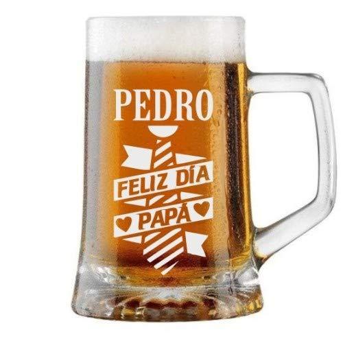 Jarra de Cerveza Personalizada Día del Padre CORBATA PARA EL PADRE Regalo Grabado y Personalizado para Hombre o Mujer Obsequio Celebraciones Cumpleaños Aniversarios Día del Padre Detalle perso