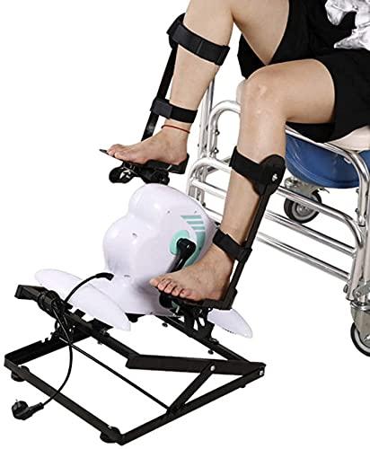 YQG Mini Bicicleta estática eléctrica/ejercitador de Pedales con Asiento Ajustable y Resistencia, Entrenador de Pedales de rehabilitación postoperatoria con Pantalla LCD, Lectura de Velocidad,