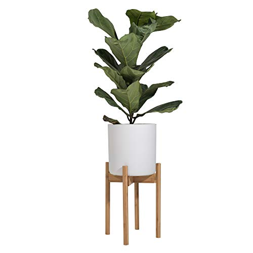Sona Home Adjustable Mid Century Plant Stand, Available in 3 Sizes, 3 Colors - Modern Plant Stand for Indoor & Outdoor Use, Planter Stand Only (High, Bamboo)