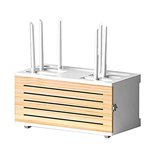 MXRLZX Caja de Almacenamiento de enrutador WiFi de Madera Estante de enrutador montado en la Pared Caja de administración de Cables de Madera Maciza Cajas organizadora Soporte de Placa de Enchufe,H