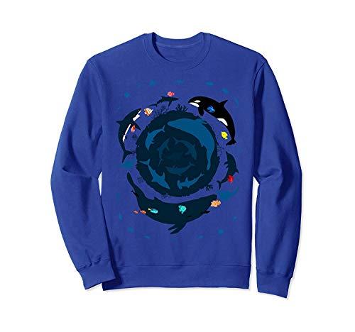 Ocean 360 D.olphin Killer Whale Lo.op C.ircle Sweatshirt - Front Print Sweatshirt for Men And Women