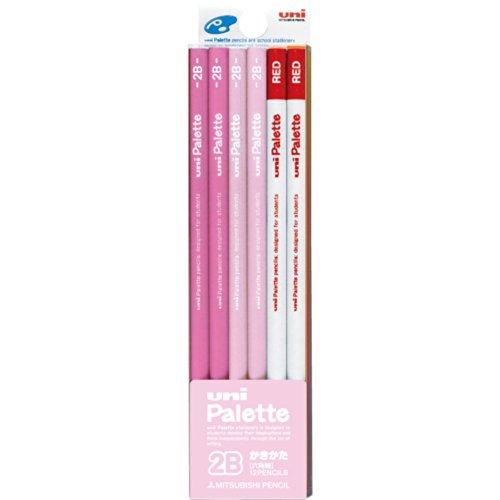 三菱鉛筆 かきかた鉛筆 ユニパレット 2B パステルピンク 1ダース 赤鉛筆付 K55642B