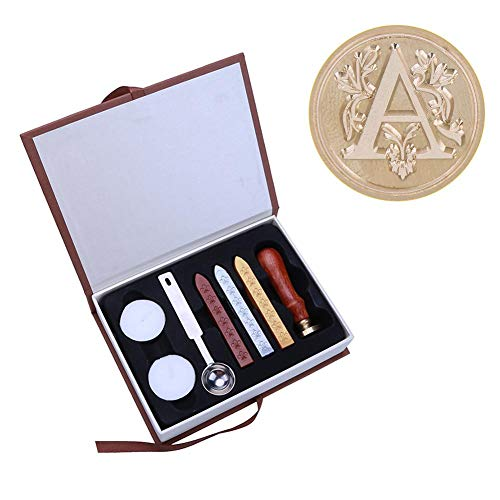 Riboaoy Ancient English Alphabet Letter Metal Seal Wax Stamps Sticks Candles Set (A