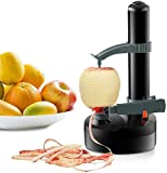 TOPCHANCES Multifunctional Automatic Electric Potato Peeler Automatic Rotating Fruits Vegetables Cutter Kitchen Peeling Tool for Fruit Vegetables Battery Powered (Black)