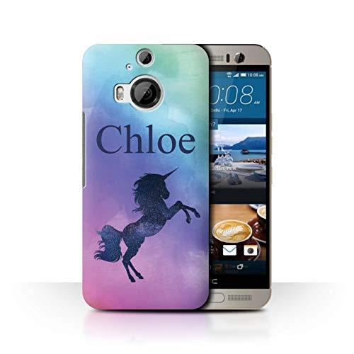 eSwish Personalisiert Individuell Handschrift Fantasy Einhorn Hülle für HTC One M9+/Plus/Neon Ombre Funkeln Design/Initiale/Name/Text Schutzhülle/Case/Etui