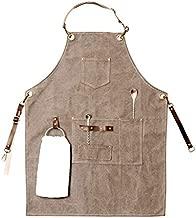 Barista Apron, Canvas Apron, BBQ Apron for Men, Cooking Apron, Bartender Apron, Cooking Apron for Men, Apron for Men, Grill Apron, mandiles para hombres (Grey)