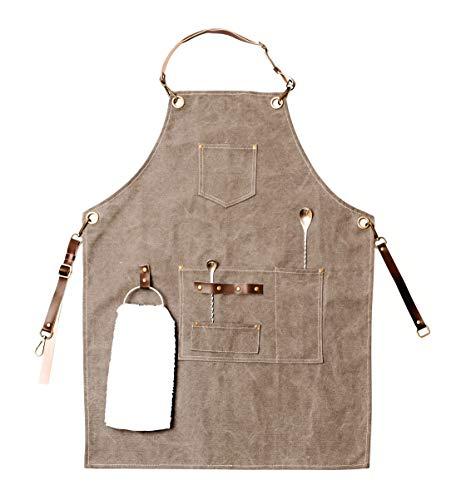 Barista Apron with Towel Ring, Waist Apron, Apron with Pockets, Barber Apron, Cotton Canvas Apron and Microfiber Leather, Mens apron, BBQ apron for men, Half apron, Mens kitchen apron, Cooking apron for men, men apron, Cooking apron