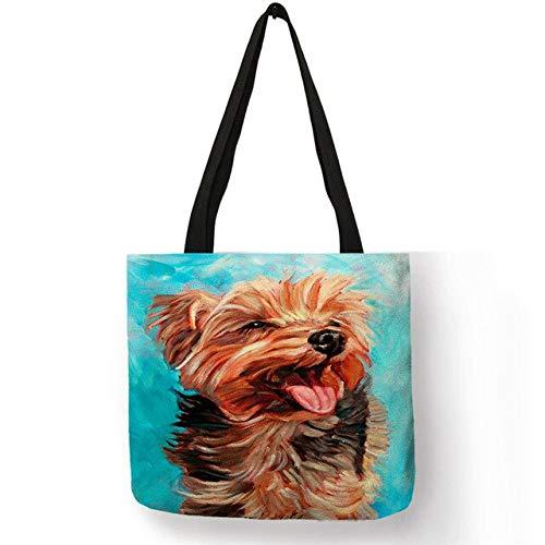 LINADEBAO Exklusives Ölgemälde Hund Druck Einkaufstasche für Damen Herren Papillon Mops Retriever, Bedruckte Handtasche, Schultertasche, große Kapazität, 005