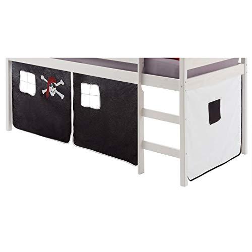 IDIMEX Vorhang Gardine Bettvorhang Classic zu Hochbett Rutschbett Spielbett in schwarz/Weiss Pirat