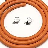 Gasschlauch für Butan/Propan, LPG, 8 mm Innenbohrung mit 2 Clips, 2 m