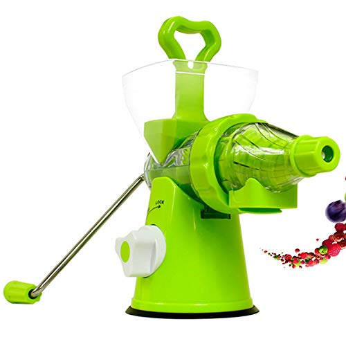 Personal Blender Manual Hand Juicer,Kitchen Hand Crank Single Screw Juicer with Suction Base for Family, Travel, Camping