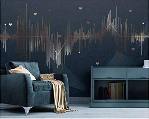 Papel tapiz mural abstracto 3D geométrico dorado curva foto papel tapiz arte de la pared papel tapiz decorativo rollos personalizar fondos de pantalla de ondas sonoras 100(W) X125(H) Cm
