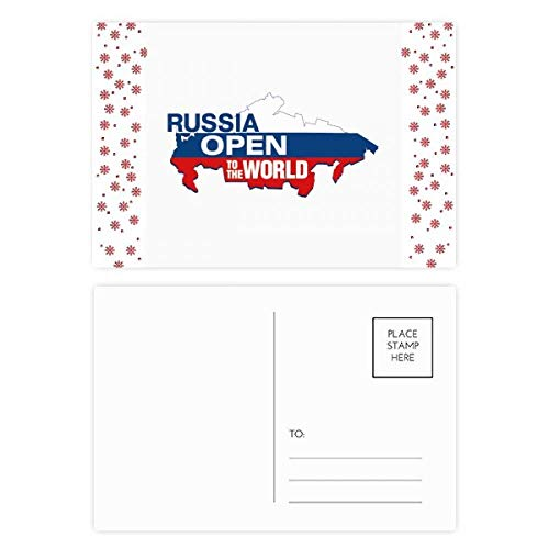 Rusland Open om de Wereld Vlag Kaart Kerstmis Bloem Postkaart Thanks Card Mailing 20 stks