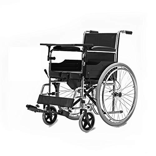 silla de ruedas portátil Manual, Freno de Mano Delantero con Orinal, Mesa...