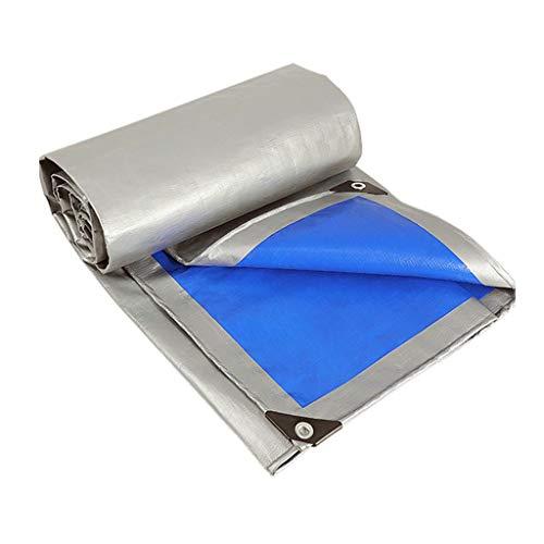 HUADA waterdicht PE-zeil Heavy Duty tarp-afdekking met oogjes voor tuinmeubelen, hoeden, trampoline, auto, camping of tuinwerk - 160 g / m2, grijsblauw