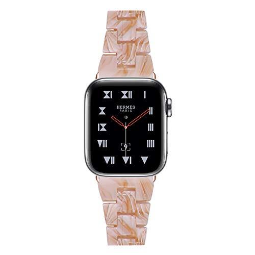 Fhony Compatible con Apple Watch 38Mm 40Mm 42Mm 44Mm Iwatch Series SE/6/5/4/3/2/1 Correa de Resina con Hebilla de Acero Inoxidable Correa de Repuesto Publicación Rápida,Silky White,38/40mm