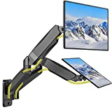 WALI Dual LCD Monitor Fully Adjustable Gas Spring Wall Mount Fit 2 Screens VESA up to 32 inch, 19.8 lbs. Weight Capacity per Arm (GSWM002), Black