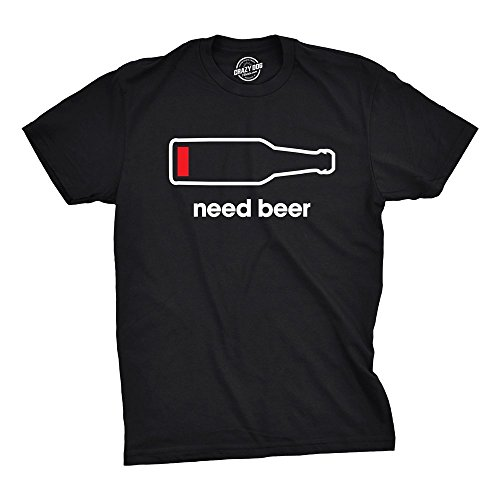 Product Image 1: Crazy Dog T-Shirts Men's Need Beer T-Shirt Funny Low Battery Dad Gift Graphic Sarcastic Humor Tee (Heather Black) – L