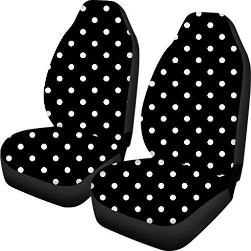 Belidome Fundas de asiento de coche, diseño de lunares, color blanco y negro, protege el accesorio interior del vehículo del desgaste sucio, ajuste universal para auto