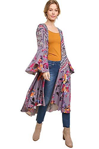 Umgee Womens Ruffled Long Body Kimono with a Multicolored Print, Grey Combo, Medium