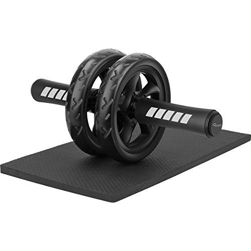 Ryaco Bauchroller mit großer Knieschoner für Bauchmuskeln Rollout Übung Doppelrollen Set mit Dual Fitness Krafttraining Modi im Fitnessstudio oder zu Hause (Schwarz)