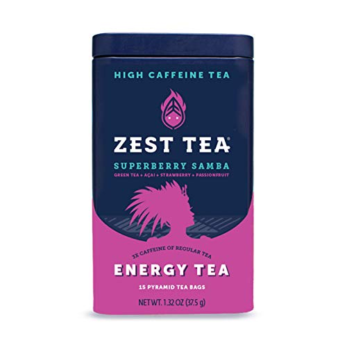Zest Tea Energy Hot Tea, High Caffeine Blend Natural & Healthy Black Coffee Substitute, Perfect for Keto, 135 mg Caffeine per Serving, Superberry Samba Green Tea, Tin of 15 Sachet Bags