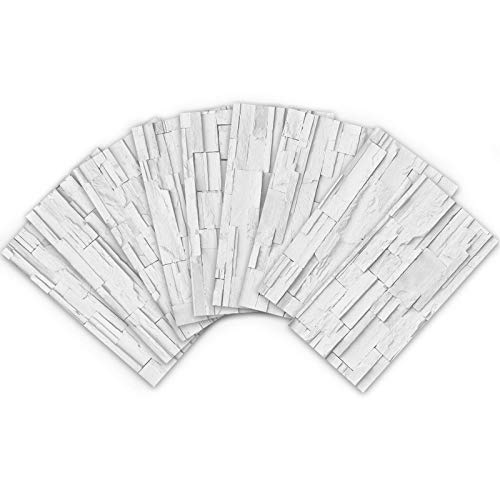 ENCOFT 27 Pezzi 3D Adesivi per Piastrelle Autoadesivo, Adesivi Mattonelle Impermeabile Rettangolare Anticalore per Bagno Cucina, Motivo a Pietra Muro 20x10cm Bianco Grigio