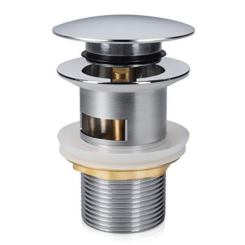 Navaris Pop-Up Ablaufventil 1 1/4 Zoll - Universal Ablaufgarnitur für Waschbecken Waschtisch mit Überlauf - Abflussgarnitur mit Dichtung - Chrom