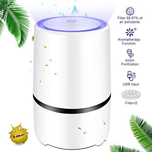 Luftreiniger Air Purifier, HEPA Aktivkohlefilter & Aromatherapie Filter,USB Negativ Negativionenluftfilter Zigarettenrauch,für 99,97% Filterleistung Bakterien/Staub/Allergien/Wohnung/Raucherzimmer