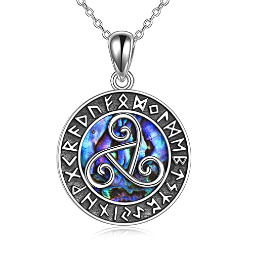 YFN Viking Jewelry Celtic Triskele Necklace Sterling Silver Runes Triple Spiral Triskelion Pendant Abalone Shell Nordic Amulet Good Luck Irish jewelry