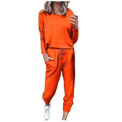 MEIbax Conjunto Chándal de Mujer 2 Piezas Conjunto de Deporte Sudadera Ropa salón Manga Larga y Holgado con cordón Ajustable Pantalones para Primavera Primavera Verano Casual Pijama Yoga Sportswear