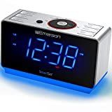 Emerson Radio ER100112 Smartset Clock Radio with Bluetooth Speaker, USB Charging, Night Light, 1.4' Blue Jumbo Display & Dual Alarm
