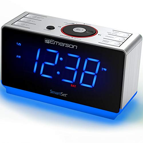 Emerson Radio ER100112 Smartset Clock Radio with Bluetooth Speaker, USB Charging, Night Light, 1.4 Blue Jumbo Display & Dual Alarm
