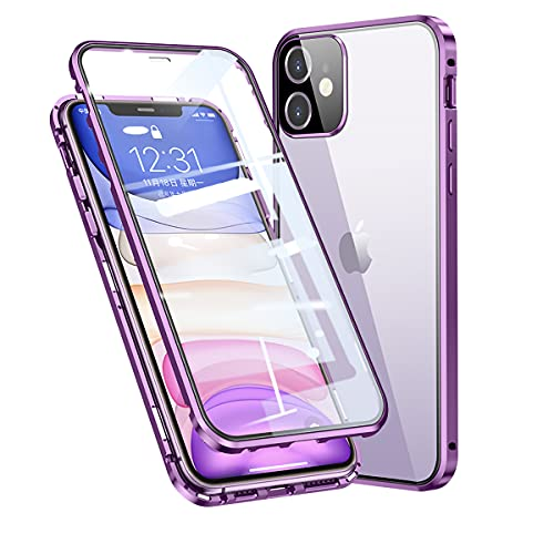 Funda para iPhone 11 Adsorption Magnetica,360° Protección Completa [con Protector de Lente de Cámara] del Cuerpo Marco De Metal + Vidrio Templado Transparente Frontal Y Posterior,Morado