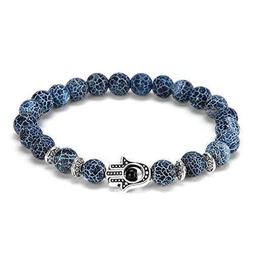 Hamsa Hand Evil Eye Bracelet,Wisolt Lava Stone Beaded Essential Bracelet Couples Friendship Bracelets Jewelry Gift for Men Women (Silver)